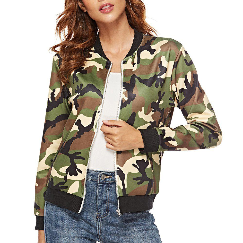 Outfits Casual Camouflage Print Long Sleeve Coat Plus Size Baseball Jacket