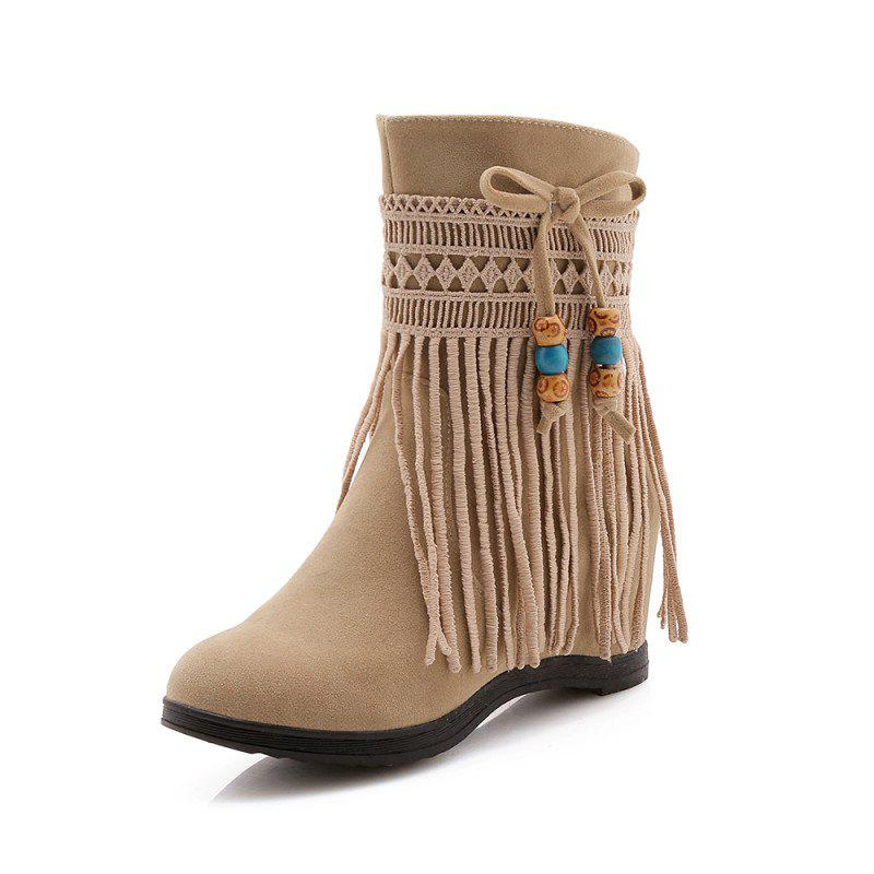 Chic Increased Tassel Bow Knot National Wind Warmth Medium Tube Boots
