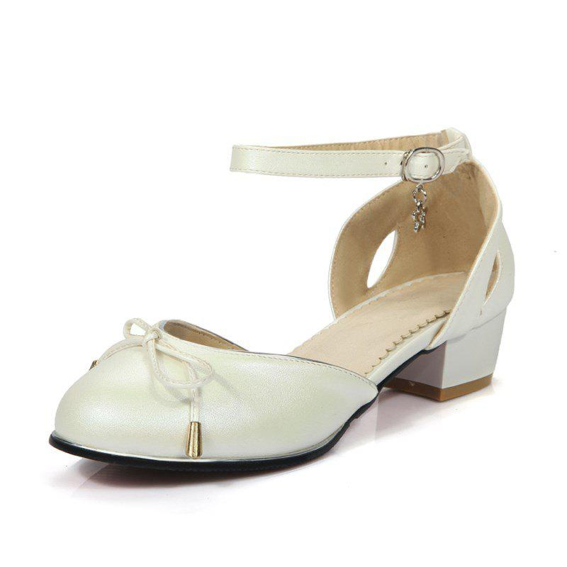 Fancy Sweet Bow Round Head Buckles with Student Low Heel Shoes