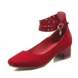 Women Shoes with Riveted Middle Back with Square Head Suede -