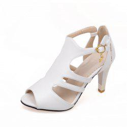 Thin High Heel Hollow Fashion Buckle Strap Sandals -