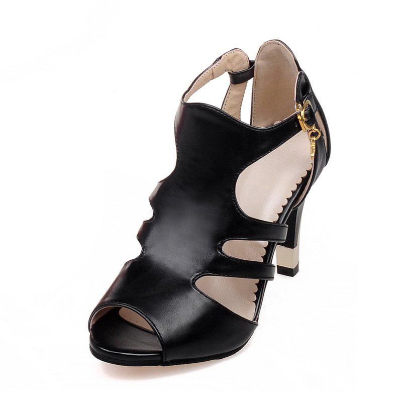 Cheap Thin High Heel Hollow Fashion Buckle Strap Sandals