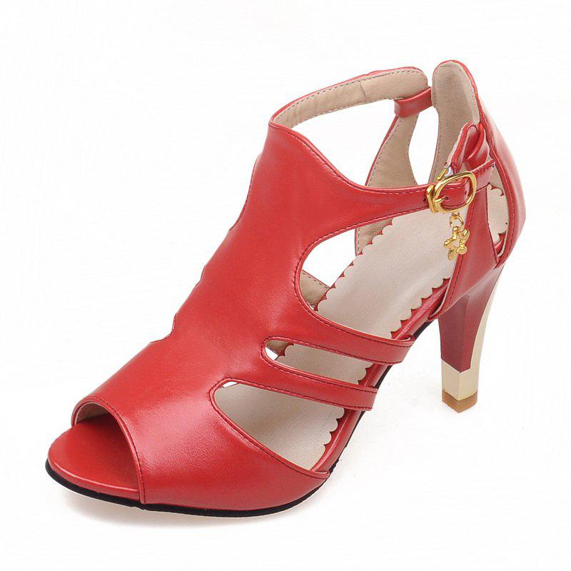 Store Thin High Heel Hollow Fashion Buckle Strap Sandals