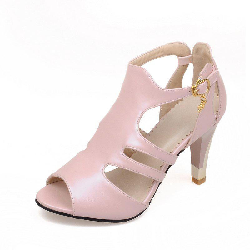 Shop Thin High Heel Hollow Fashion Buckle Strap Sandals