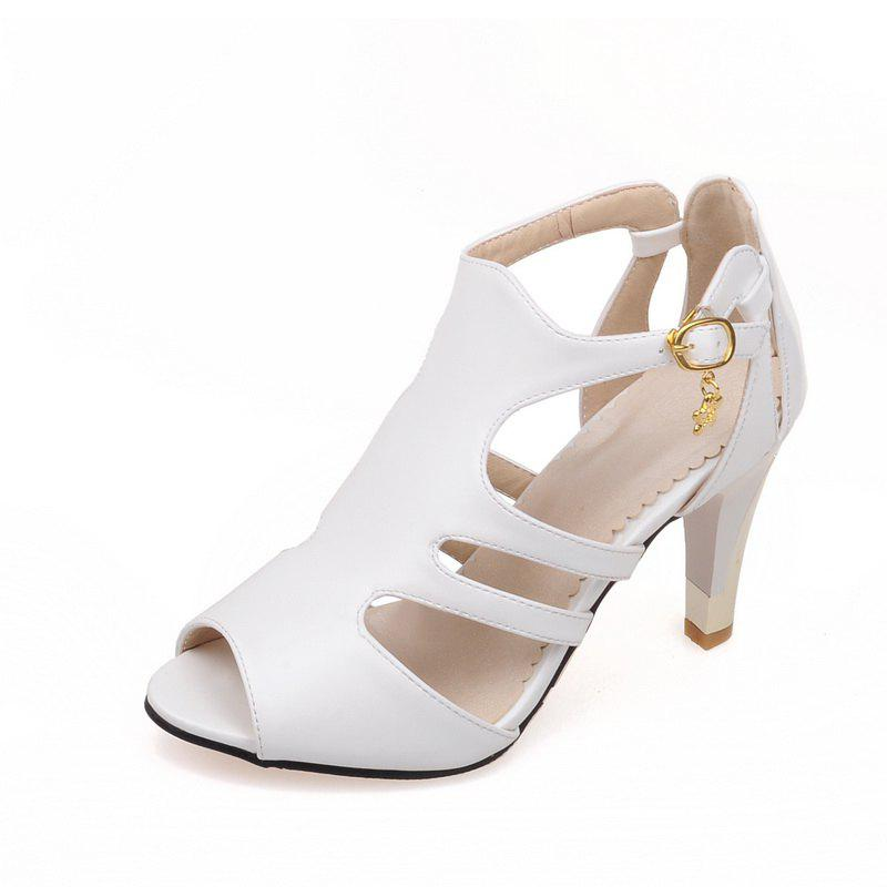 Unique Thin High Heel Hollow Fashion Buckle Strap Sandals