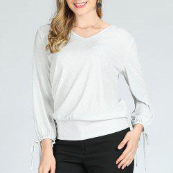SBETRO Casual Women Shirt Slim V Neck Lace up Cuff -