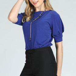 SBETRO Women Blouse Short Sleeve Solid Puff Sleeve Casual Ladies Shirt -