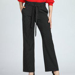 SBETRO Striped Trousers Spring Autumn Work Pants with Pockets Waistband -