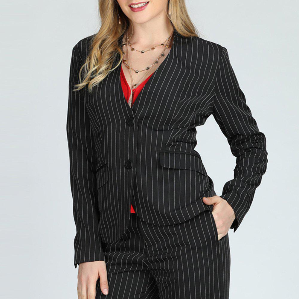 Fashion SBETRO Women Suit Single Breasted Striped Jacket  with Pockets