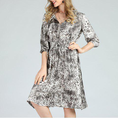 SBETRO Leopard Printed Dress A-Line 1/2 Sleeve Floral Pattern