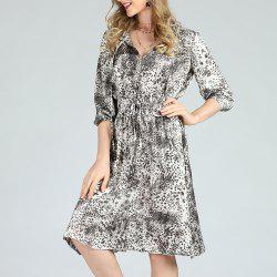 SBETRO Leopard Printed Dress A-Line 1/2 Sleeve Floral Pattern -