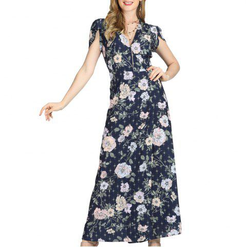 SBETRO Maxi Dress Floral Print Deep V Neck Short Petals Sleeve Spring Summer
