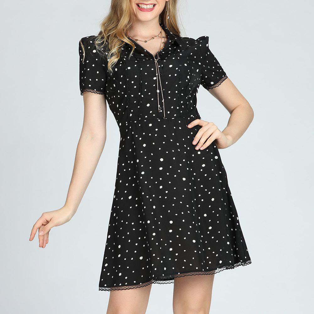 New SBETRO Black Polka Dots Shirt Dress with Buttons Lace Trims A-Line