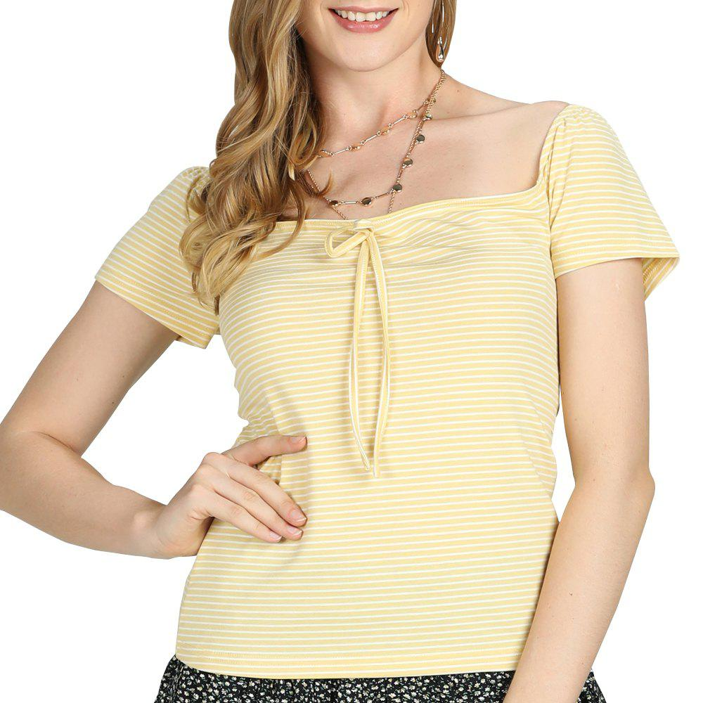 Fancy SBETRO Women T-Shirt Tie Detail Square Neck Cap Sleeve Casual Fashion Sexy