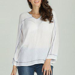 SBETRO Women Solid Chiffon Shirt Long Sleeve Spring -