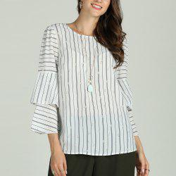 SBETRO Female Striped Shirt Flare 3/4 Sleeve -