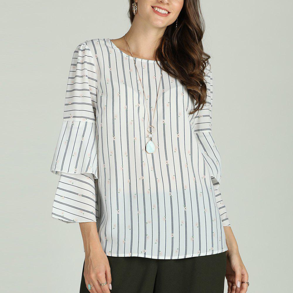 Unique SBETRO Female Striped Shirt Flare 3/4 Sleeve