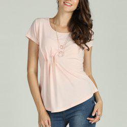 SBETRO Female Solid Shirt Pleated Asymmetrical O Neck Short Sleeve Top Casual -