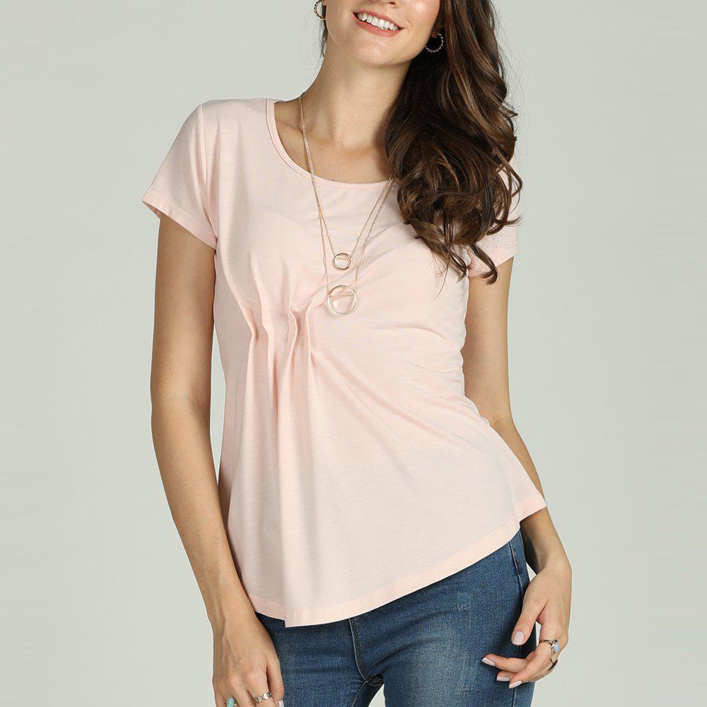 Hot SBETRO Female Solid Shirt Pleated Asymmetrical O Neck Short Sleeve Top Casual