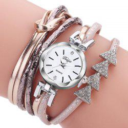 Women PU Strap Drill Triangle Circle Full Bracelet Table Watch -