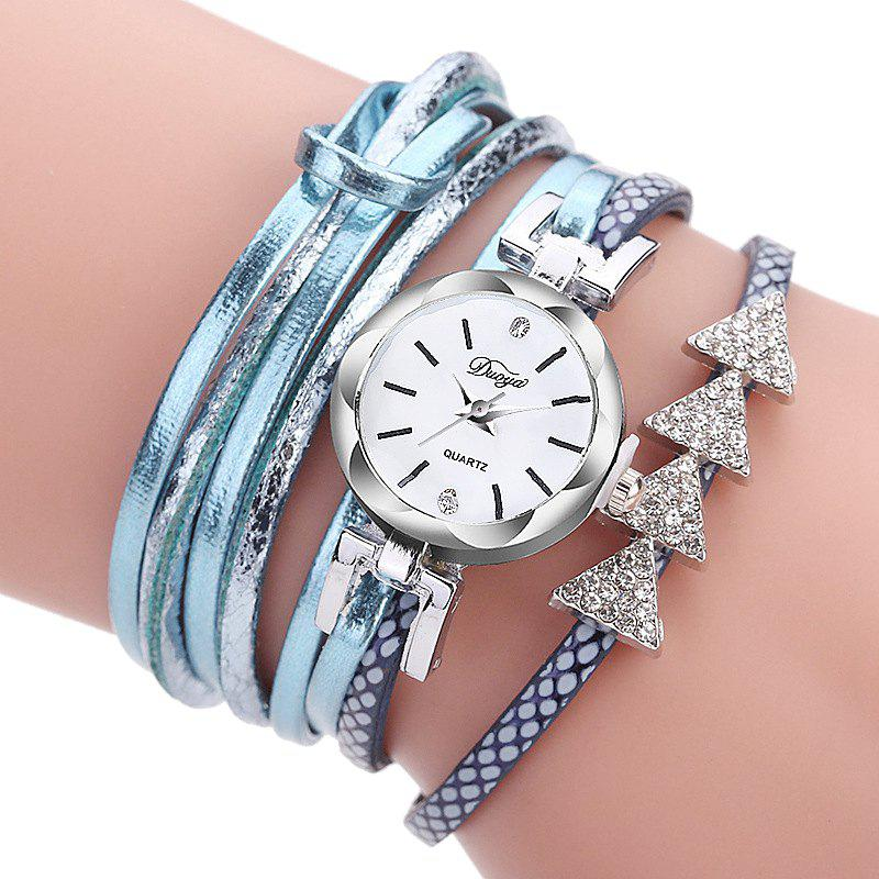 Latest Women PU Strap Drill Triangle Circle Full Bracelet Table Watch
