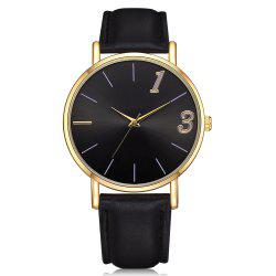 Neutral Couple Pu Strap Contracted Digital Quartz Watch Wrist Watch -