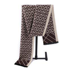 Neutral Ethnic style Cashmere Chinese Knot Double Jacquard Scarf -