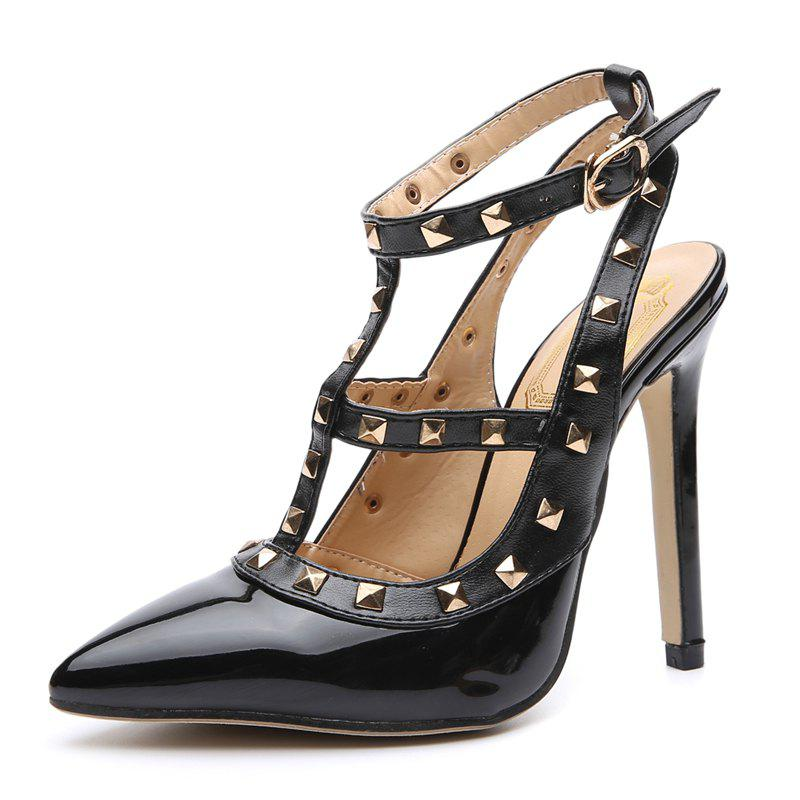 Affordable Women's Pointed Toe Stiletto Sling Back Shoes Japanese High Heels with Rivets