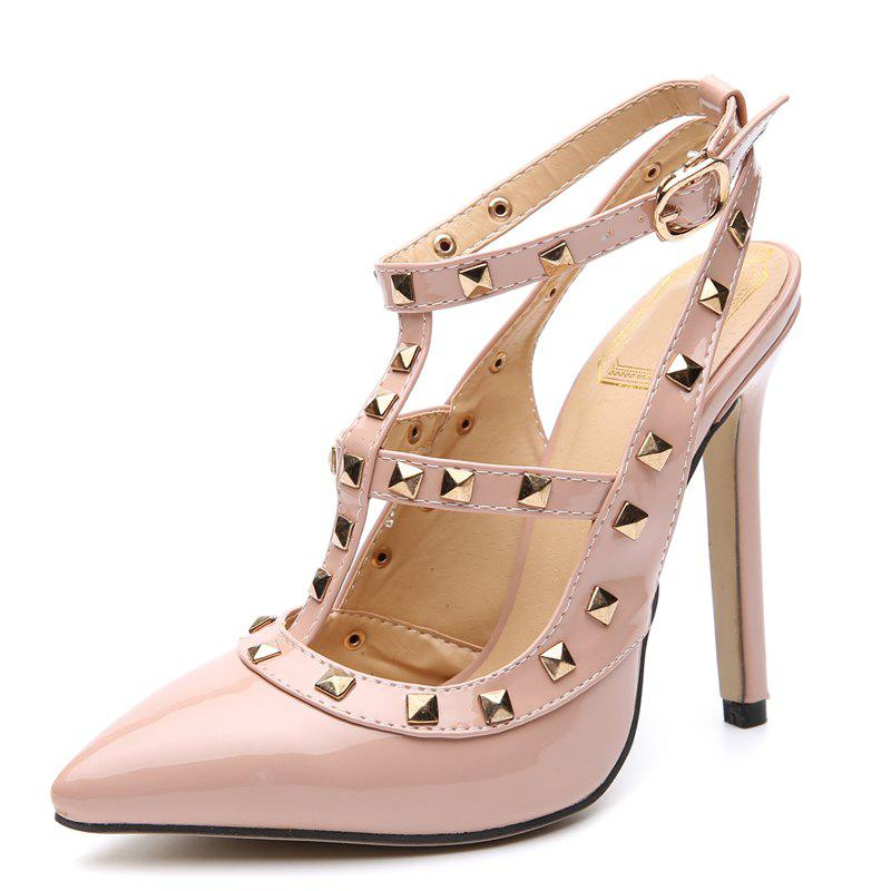 Discount Women's Pointed Toe Stiletto Sling Back Shoes Japanese High Heels with Rivets