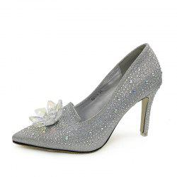 Women's Pointed Toe Stiletto Pumps Luxury Party High Heels with Rhinestone -