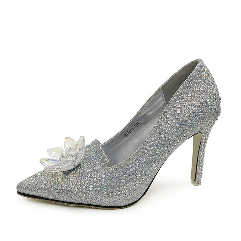 Shop Women's Pointed Toe Stiletto Pumps Luxury Party High Heels with Rhinestone