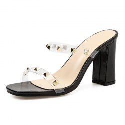 Women's Square Heel Open Toe High Heels Fashion Party Slippers with Rivets -