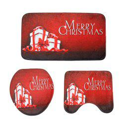 Cartoon Christmas Decoration Toilet Carpet Three-Piece Combination Mat -