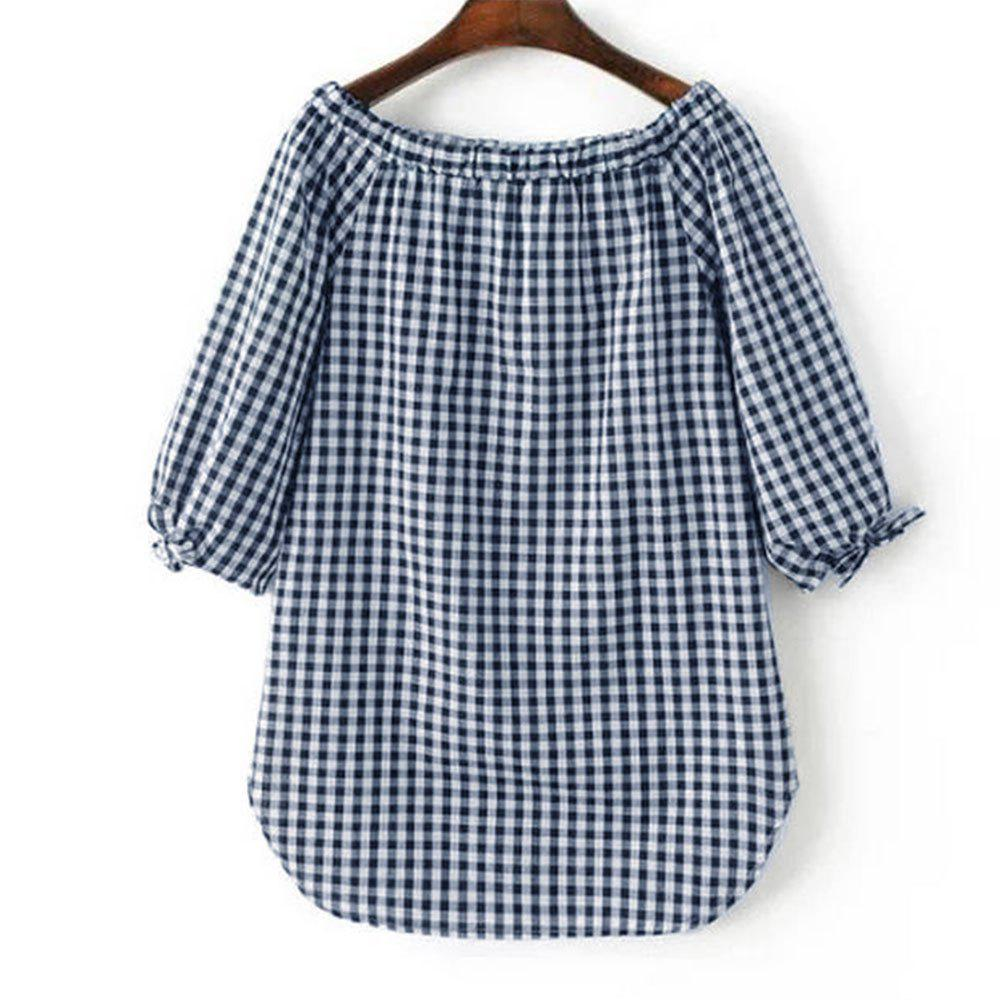 Cheap New Women'S Dress with Loose and Thin Plaid Shirt