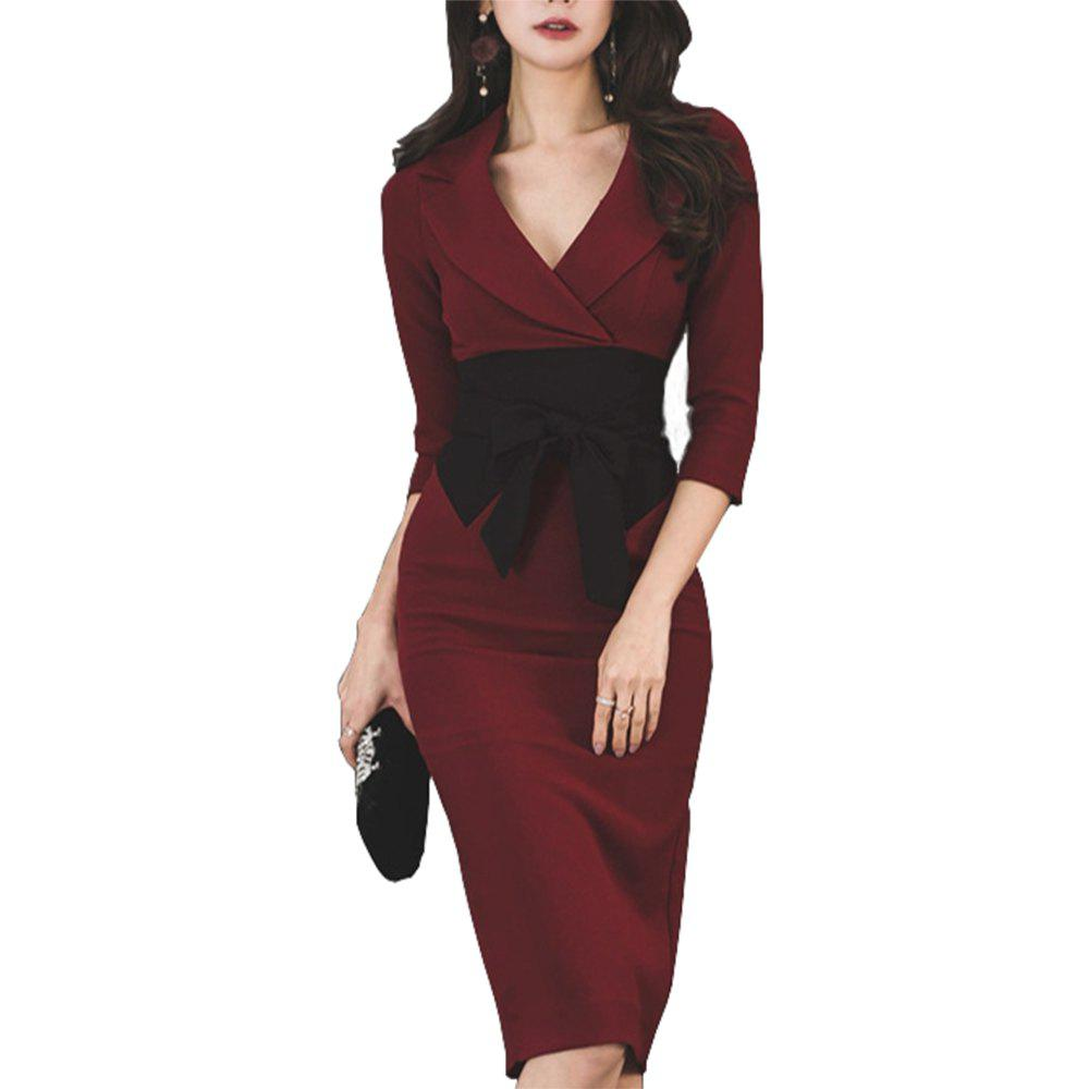 Shops Women's Sexy V-neck Bow Dress