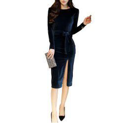 Women'S Sexy Long-Sleeved Gold Lace Bag Hip Dress -