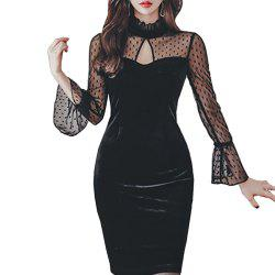 Ladies Sexy Wrapped Chest Mesh Long Sleeve Dress -