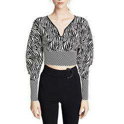 HAODUOYI Women's Personality Zebra Pattern Leaking Umbilical Sweater Multicolor -