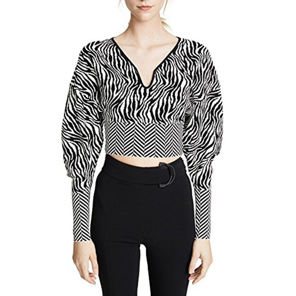 Chic HAODUOYI Women's Personality Zebra Pattern Leaking Umbilical Sweater Multicolor