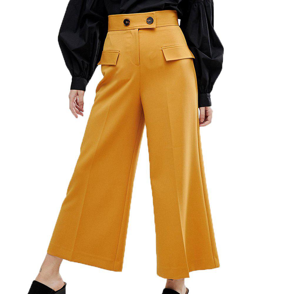 Affordable HAODUOYI Women's Simple Solid Color Wide Waist Casual Wide Leg Pants Yellow