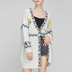 Autumn And Winter Long Letter Cardigan Sweater Knit Jacket -