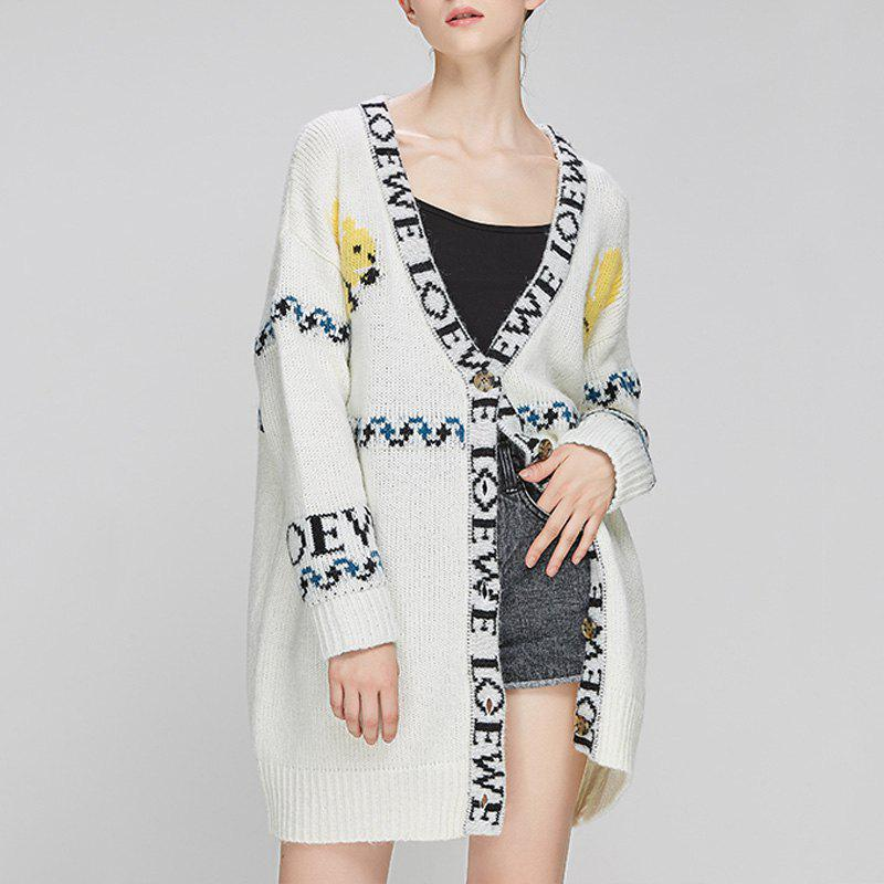 Latest Autumn And Winter Long Letter Cardigan Sweater Knit Jacket