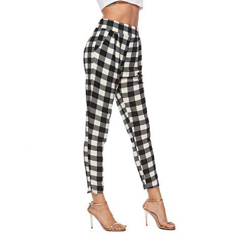 2018 Europe and The United States Autumn Plaid Pants High Waist Suit Pants Slim