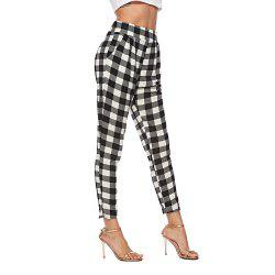 2018 Europe and The United States Autumn Plaid Pants High Waist Suit Pants Slim -