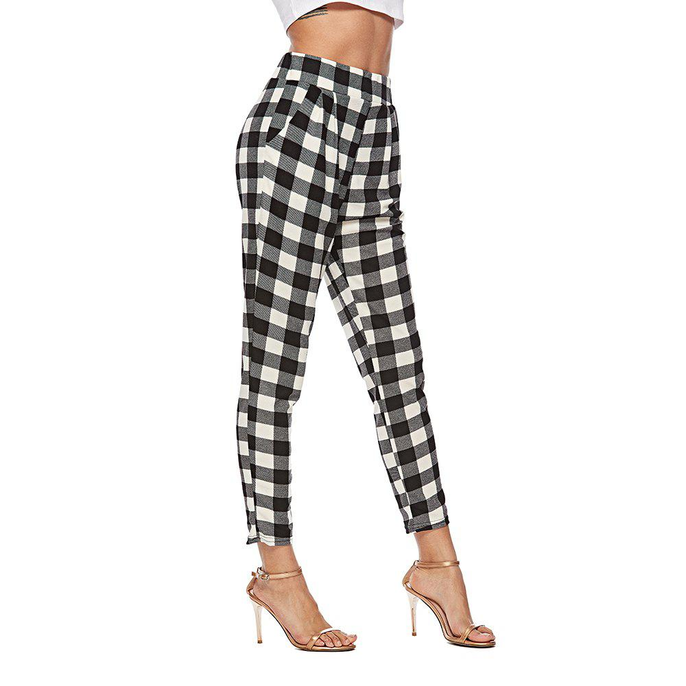 4e04294f3fada 2018 Europe and The United States Autumn Plaid Pants High Waist Suit Pants  Slim