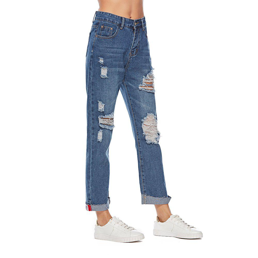Fashion Women's Jeans Fashion Frayed Hollow Out Casual  Pants