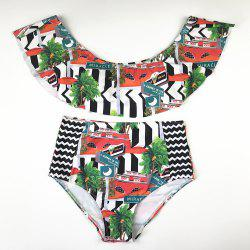 New European and American Two-Piece Printed Swimsuit with Flounces -