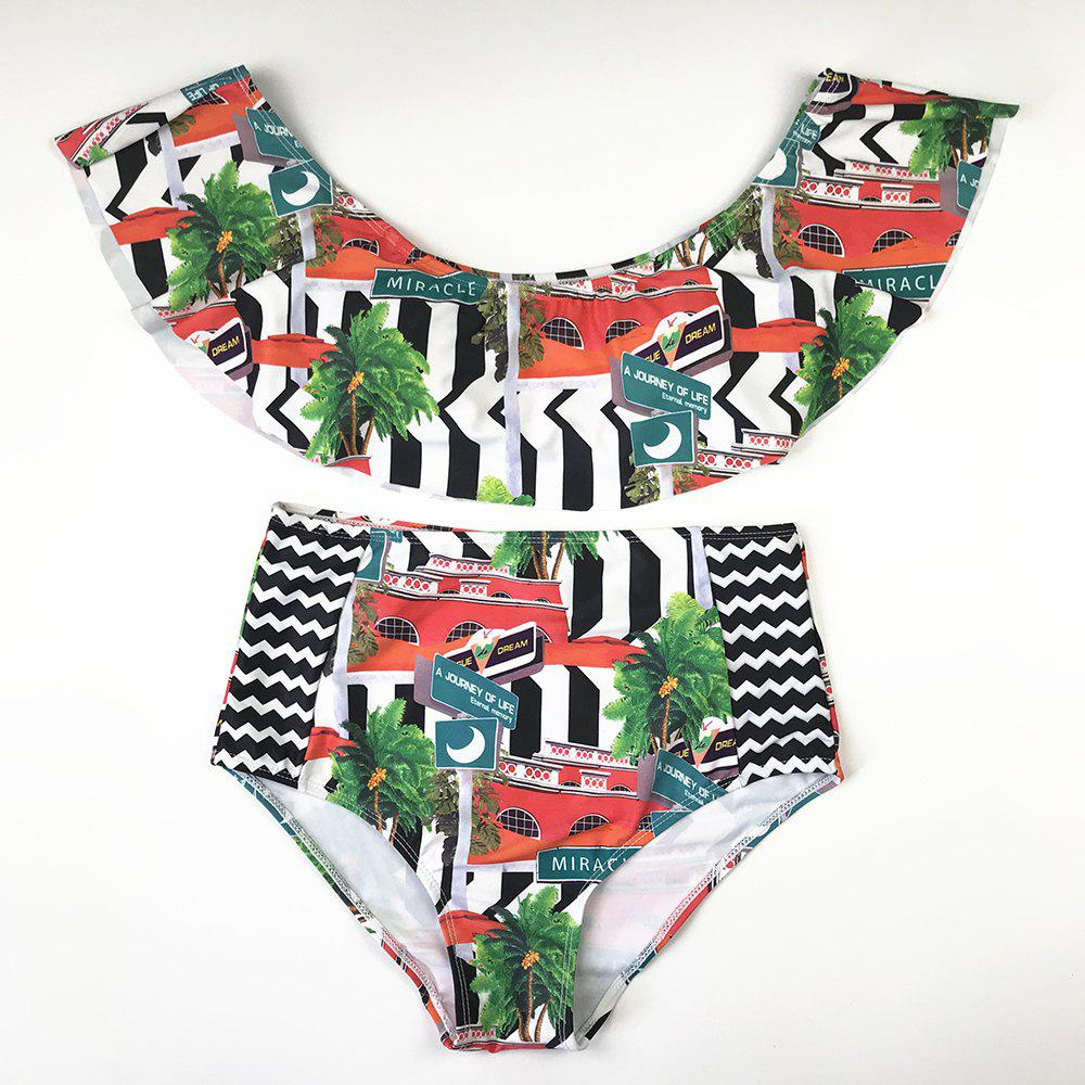 Best New European and American Two-Piece Printed Swimsuit with Flounces