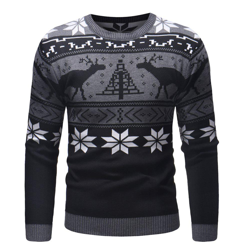 Outfit Men'S Autumn New Christmas Deer Polygonal Sweater Men'S Long Sleeve Sweater