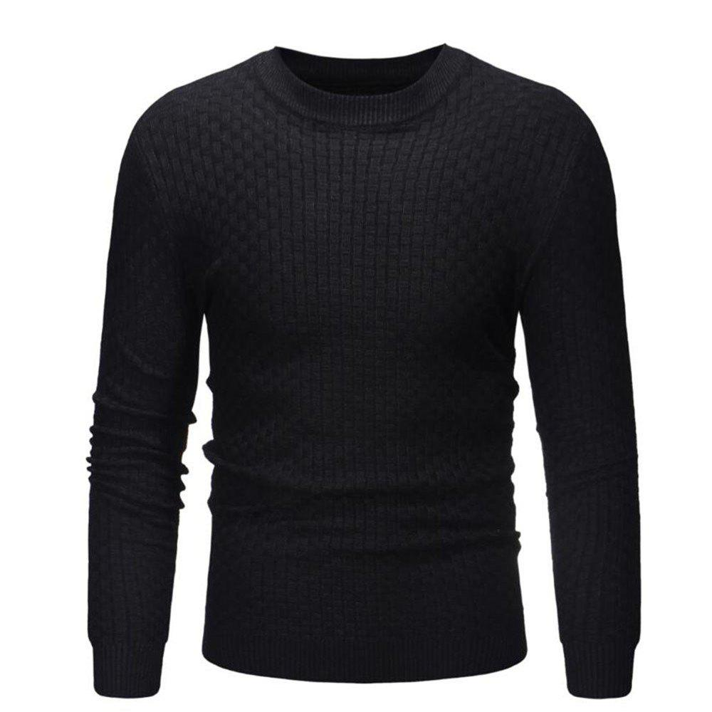 Hot 2018 New Men'S Round Neck Casual Slim Bamboo Sweater